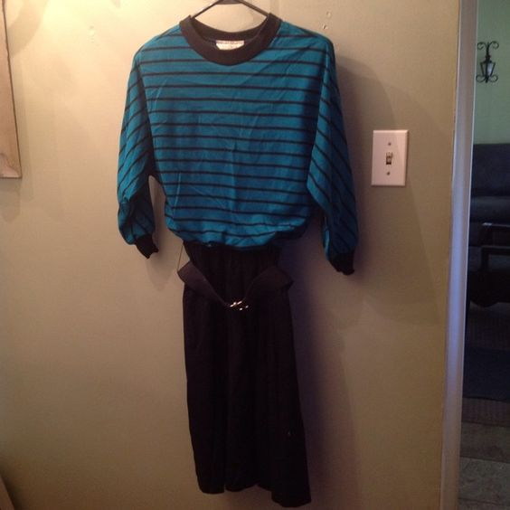 Vintage Belted Dress True vintage piece, looks very modern. Midi skirt length, cotton skirt with belt. Top is a bit lore of a darker green than shows up in pic. Will be steamed and ironed after purchase (wrinkles just from storage). No size listed but will fit M. Vintage Dresses Midi