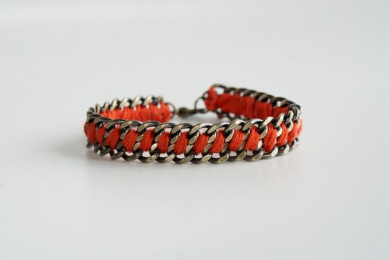 Chain and embroidery floss bracelet