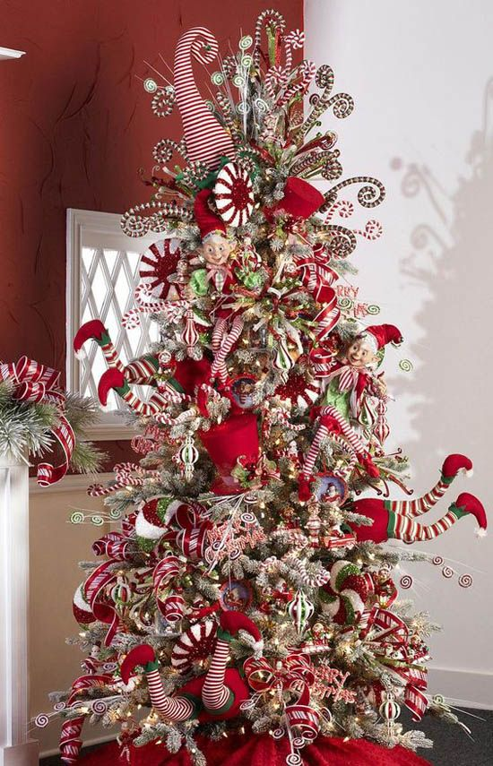 Candy cane Christmas tree. What a clever item. You could also add Santa  Claus ornaments to complete the theme. | Holiday crafts and food |  Pinterest ...