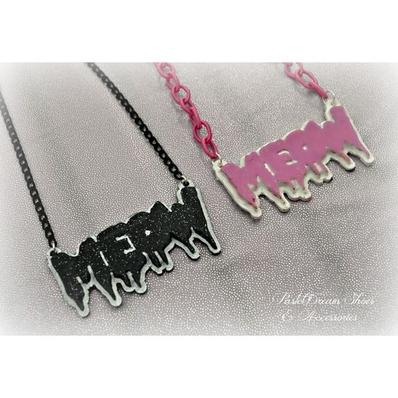 meow necklace Pastel Goth, Soft Grunge, kawaii,soft grunge,... ($7.20) via Polyvore featuring jewelry, necklaces, grunge necklaces, gothic necklace, goth necklace, grunge jewelry and polish jewelry