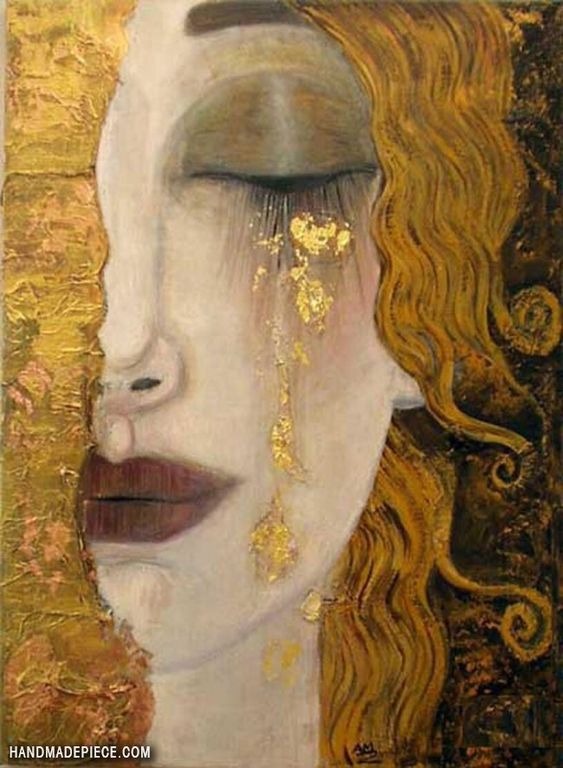 Freya's Tears (Golden Tears) Oil Painting Reproduction on Canvas By Gustav Klimt
