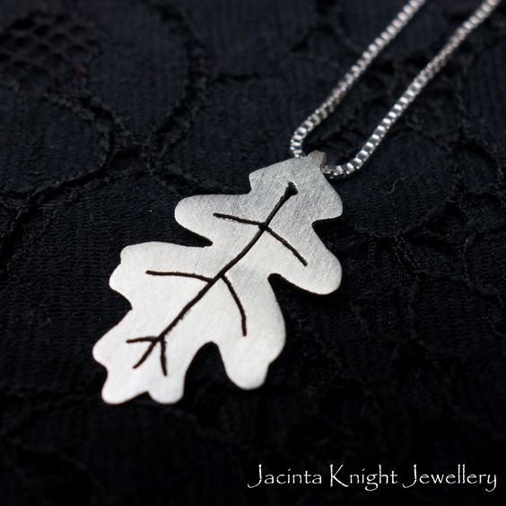 Argentium sterling silver oak leaf pendant. Hand cut using a jewellery saw.
