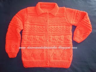 Das Mãos da Teresinha: Casaco de tricô tam. 5-6 anos