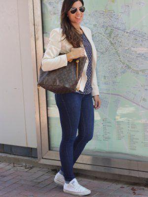 Mumstyle Outfit Invierno 2012. Combinar Blazer Blanco Mango Jersey Azul Klein Massimo Dutti ...