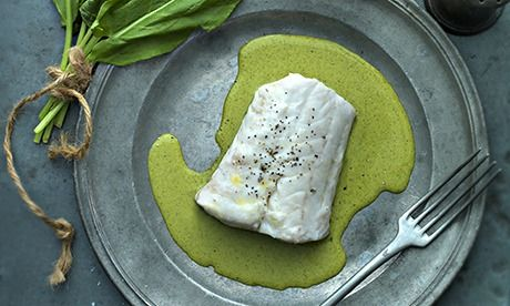 Jeremy Lee's hake with herb sauce. Photograph: Jean Cazals for Observer Food Monthly