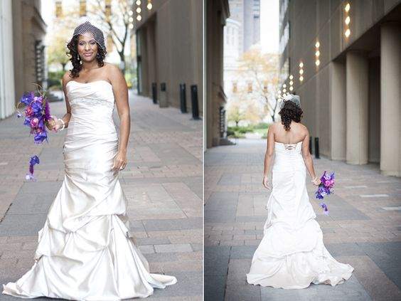 We adore this wedding gown. And how could you know love the pop of purple! So fabulous! // Photographer: Comfort Photography