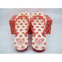 red flower tory flip flops