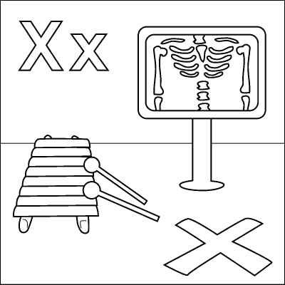 Letter X coloring page (X-ray, Xylophone,
