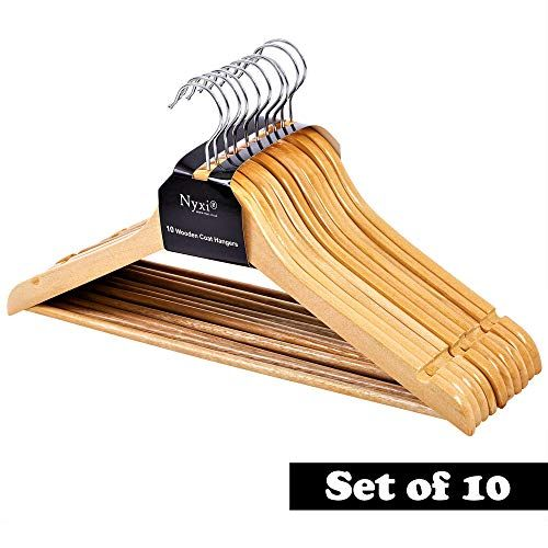 Nyxi Pack Of 10 Grade A Clothes Hangers Natural Wooden W Https