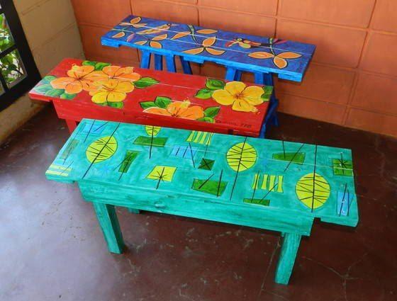 Bancos pintados a mano de pallets muebles pintados pinterest pal s - Bancos de jardin de segunda mano ...