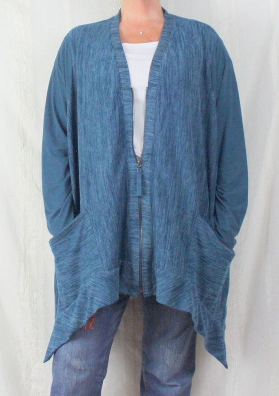 LOGO Lori Goldstein 3x size Blue Zip Cardigan Sweater Soft Easy Wear Plus Lightweight
