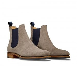 Giancarlo Taupe – Men's Chelsea Boot made from grey Suede leather ...