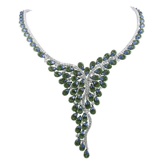 Magnificent Diamond Sapphire Tsavorite Garnet Gold Necklace   From a unique collection of vintage choker necklaces at https://www.1stdibs.com/jewelry/necklaces/choker-necklaces/