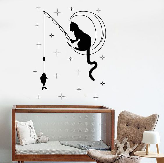 Vinyl Wall Decal Cat Fishing Stars Crescent Nursery Bedroom Stickers (ig4064)