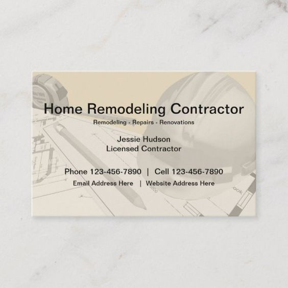 Construction And Remodeling Contractor Business Card Zazzle Com In 2020 Remodeling Contractors Construction Business Cards Home Remodeling Contractors