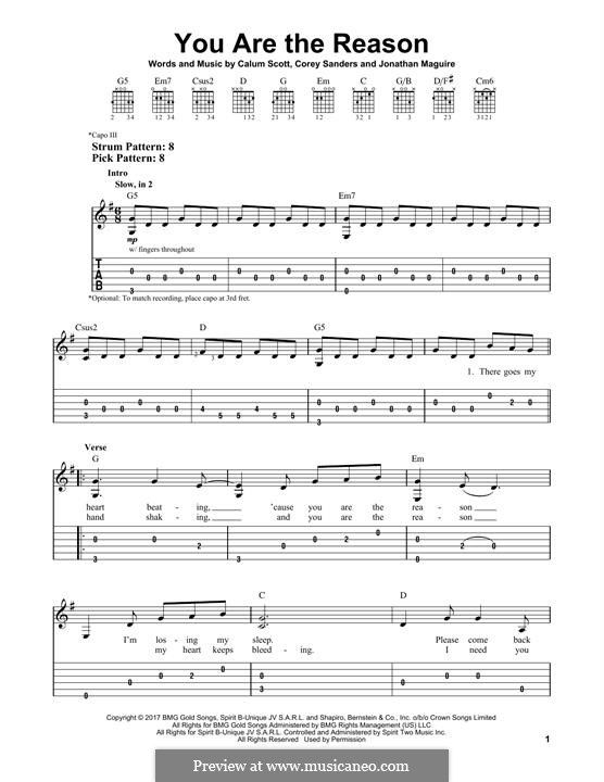 You Are The Reason Guitar Chords For Songs Sheet Music