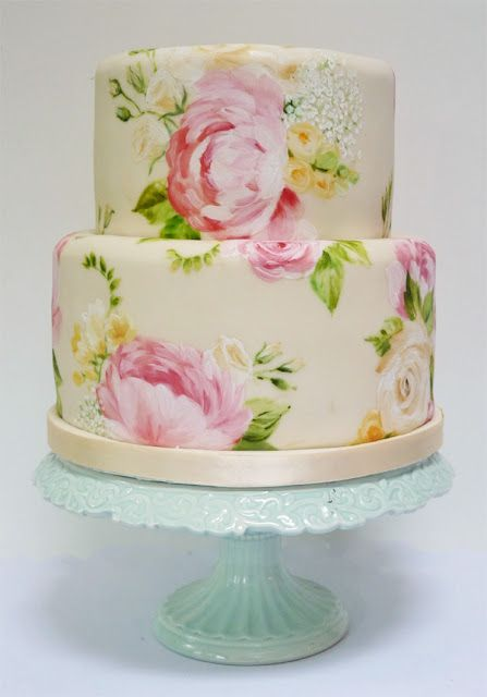 Wedding cake painted with edible food coloring, made to match the bride's bouquet!