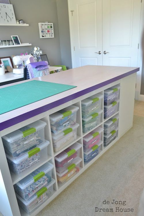 Stacked Ikea Bookshelves In The Center Of Room And A Door As Table Top For Storage Worktable Crafty Artsy Es Pinterest Ideas