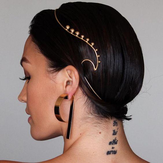 Sleek Updo With Golden Headband
