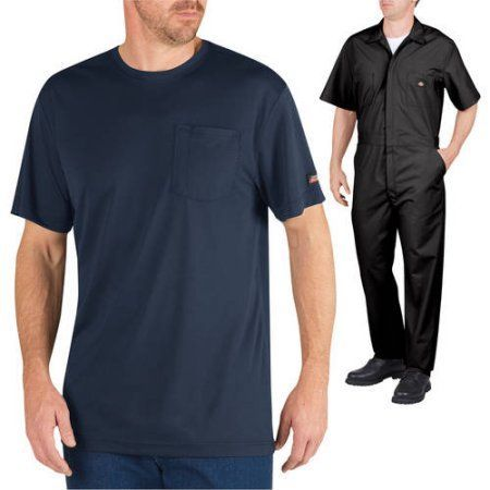Dickies Men;s Short Sleeve Coverall and Performance T-Shirt Outfit Set, Black