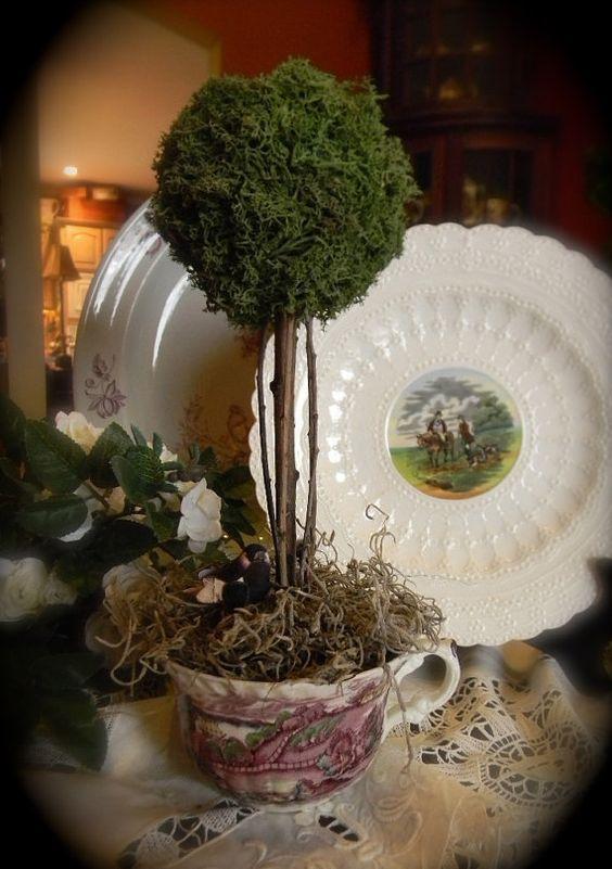 Reindeer Moss Topiary in Vintage Purple Polychrome English Transferware Teacup with Nesting Bird