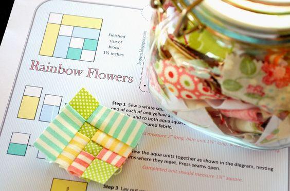 When Inspiration Strikes: Rainblow Flowers Mini Block -Free Pattern