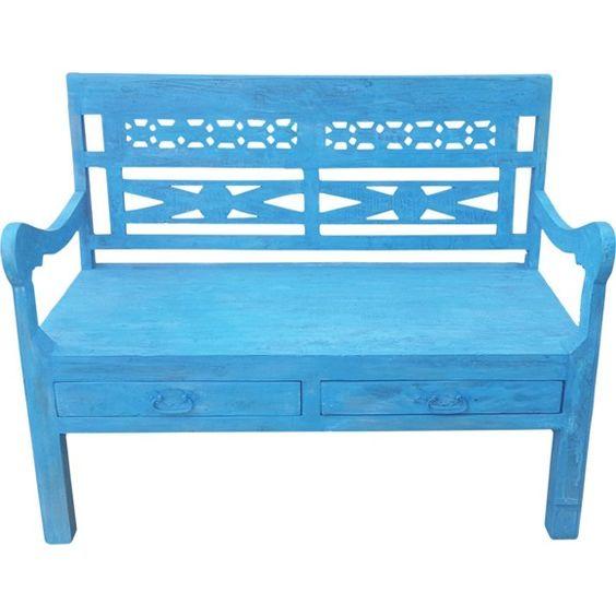 SITZBANK in Holz Blau - Bänke - Esszimmer - Wohn- & Esszimmer - Produkte