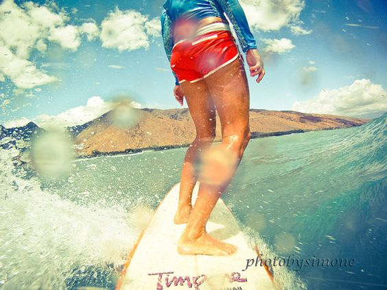 If only I didn't fear the Great White:(  Surfer girl riding wave tangerine shorts Hawaii by photobysimone
