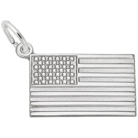 American Flag Charm In Sterling Silver Flag Charm American Flag Silver