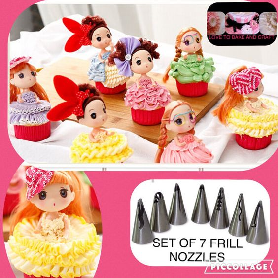 Piping tips frill piping nozzle set 7 tip by Lovetobakeandcraft