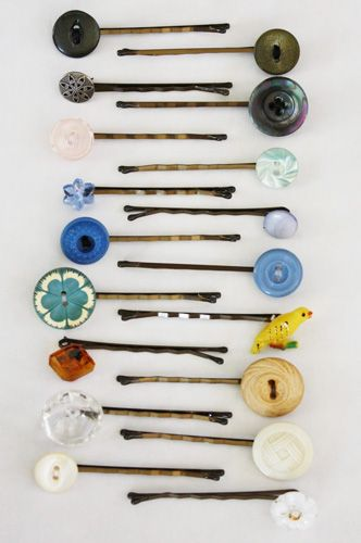Button Hairpins: Turn ordinary bobby pins into pretty hair accessories by sewing on (and securing with glue) some decorative buttons. Source: A Homemaker's Journal:
