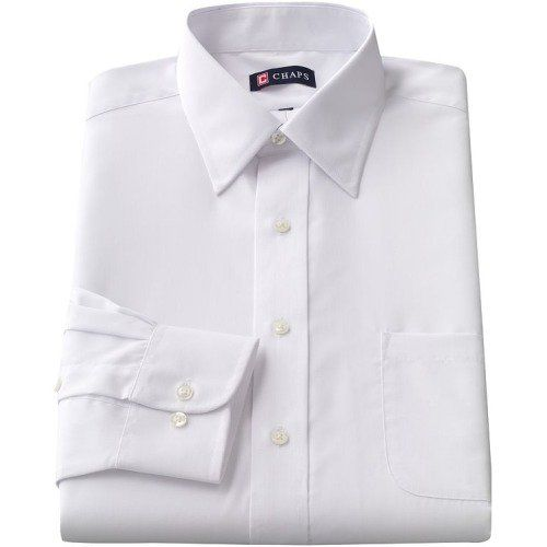 In this Chaps dress shirt, you'll make an impression. The broadcloth weave offers a lustrous look. Wear this men's dress shirt to the office or any formal occasion. In white. Classic fit features relaxed arm holes, regular body and traditional sleeve openings. Point collar offers a sharp, traditional appearance. Details: Button front Long sleeves 1-pocket Cotton / polyester Machine wash Imported