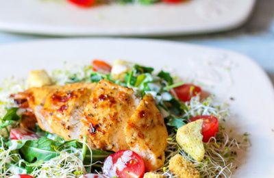Salade aux croûtons de Bretzels & poulet au miel