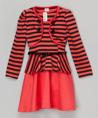 Another great find on #zulily! Black & Coral Stripe Bolero & Belted Dress - Toddler & Girls #zulilyfinds