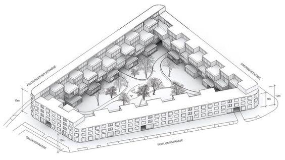 EUROPAN 12 - NÜRNBERG  Status: International Competition 2013, second round Location: Nürnberg, Germany Size: 6.000 sqm, 84 units Program: inner city housing block