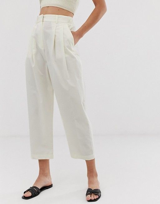 utterly stylish huge discount nice cheap Mango elasticated waist wide leg trousers in white | White wide ...