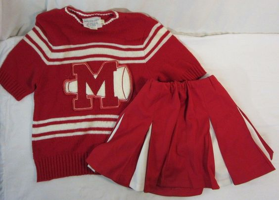 "Vtg Red & White Cheerleading Fashions Diane Uniform ""M"" Megaphone Sweater Skirt"