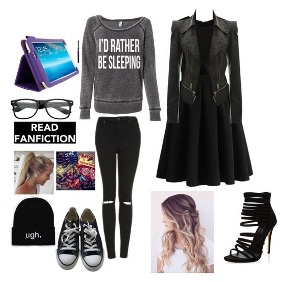 """Untitled #343"" by sparklecookie21 ❤ liked on Polyvore featuring Topshop, Converse, Chicwish and New Look"
