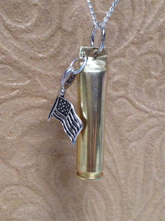 223 Brass Necklace with American Flag Charm. by BlingingBullets