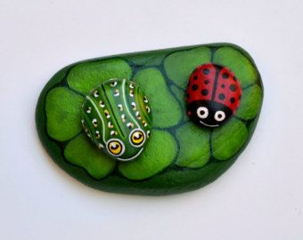 Hand Painted Stone (Adriatic Sea) Frog and Leaf