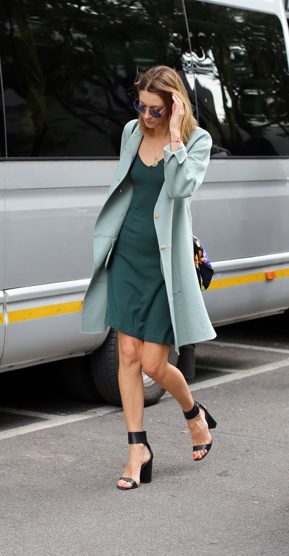 Mint green coat with teal green dress: