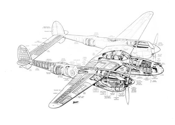 lockheed p 38 lightning cutaway drawing jpg 5 000 215 3 596 p 237 xeis p38 lightning