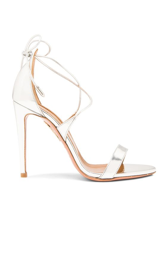 Aquazzura Linda Leather Heels in Silver