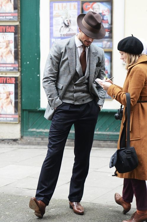 David Gandy - DB/waistcoat/odd trousers/fedora