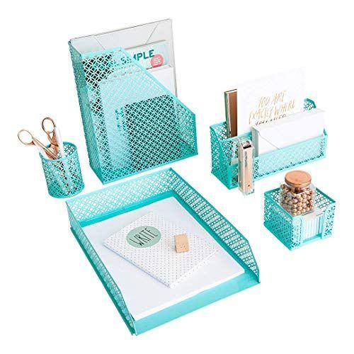 Aqua Teal 5 Piece Cute Desk Organizer Set Desk Organizers And Accessories For Women In 2020 Desk Organizer Set Cute Desk Organization Cute Office Desk Accessories