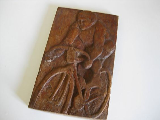 Primitive French hand carved wood plaque  showing cyclist, great cycling gift idea by Histoires on Etsy