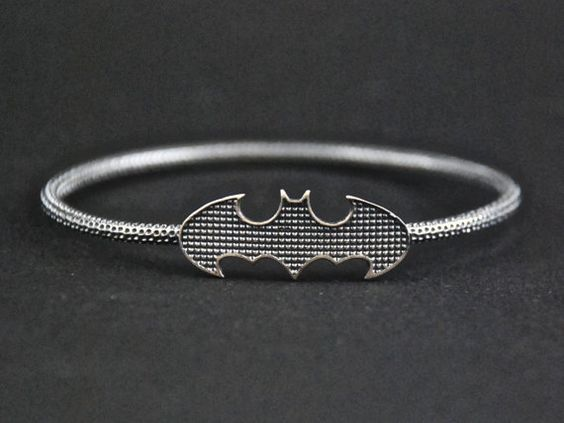 Mens Batman Bangle Bracelet-Sterling Silver by aegisjewelry