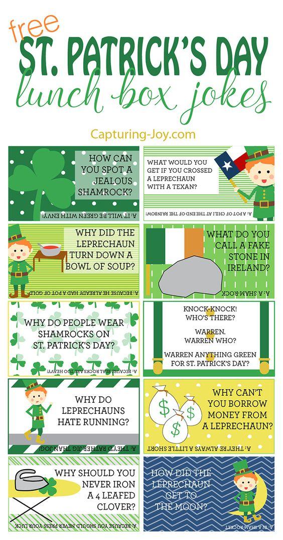 Free printable St. Patricks Day Lunch Box Jokes for your kids!  Grab them on Capturing-Joy.com!
