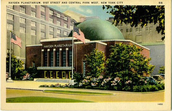 """Original Hayden Planetarium. A two-storey brick building with copper-covered dome and Art Deco styling. Mona Evans, """"Rose Center and Hayden Planetarium"""" http://www.bellaonline.com/articles/art183413.asp"""