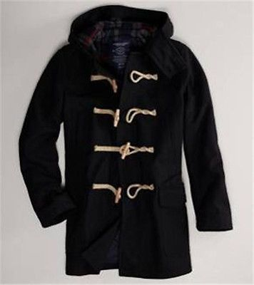 NEW Mens AMERICAN EAGLE Black Wool Toggle Long Duffle Coat Jacket